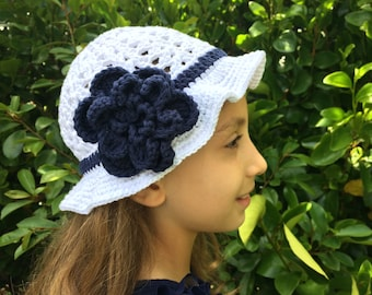 Girls Crocheted Floral Sunhat. Cotton Cloche Hat for Girls 1-8 years. Choose Your Colour. White/Pink/Blue/Orange/Green