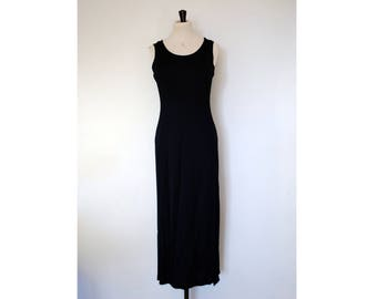 90s Long Navy Slit Dress, Size 10