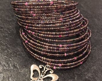 Purple seed bead 20 coil memory wire bracelet