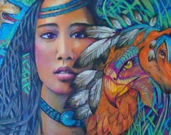 original art drawing spirit animal Indian Native American
