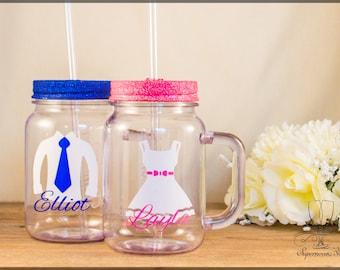 Glitter Mason Jar - Flower girl|Page boy|personalised|wedding|mason|jar|drink|kids|children|