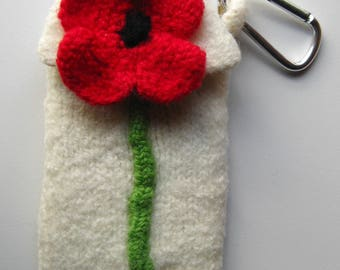 Hand Knit, Wool,Carabiner Cell Phone Cosy, White with a Red Poppy, IPhone, Universal Phone Case, Handmade Phone Cosy, Made to Order