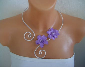 Bridal white and light purple, white aluminum wire, Flower necklace mauve satin /violet, wedding, personalized necklace