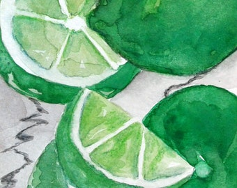 """Free shipping US Original watercolor painting Limes painting Kitchen art Kitchen paintings US """"Tangy little fruits"""""""