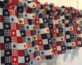 """Patriotic USA Primitive Country Patchwork 4th of July Red White and Blue with Stars 42"""" Valance Curtain"""