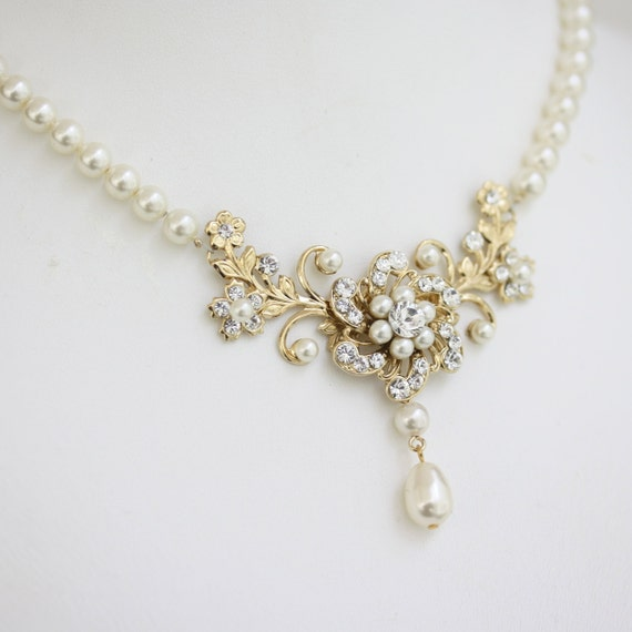 Bridal Necklace Gold Wedding Necklace Pearl Crystal Floral