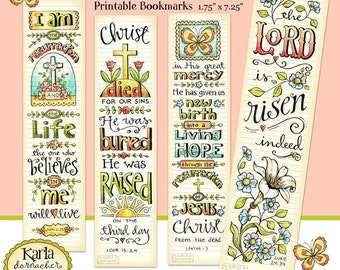 Easter Bible Bookmarks Full Color Bible Journaling Tags INSTANT DOWNLOAD Scripture Digital Printable Download Christian Religious