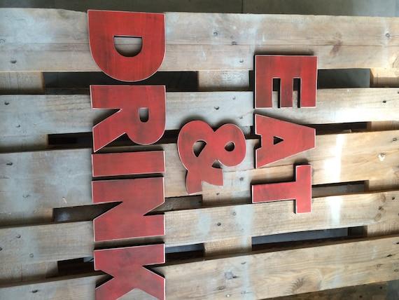 EAT U0026DRINK Sign Rustic Letters Kitchen Sign Wooden Sign