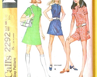 1970s  McCall's 2292 OnePiece Dress or pantdress Women's Patterns Vintage Sewing Pattern Bust 30.5 inches