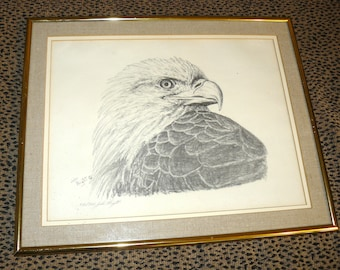 Vintage Signed Numbered Lithograph Picture BALD EAGLE by John Wright
