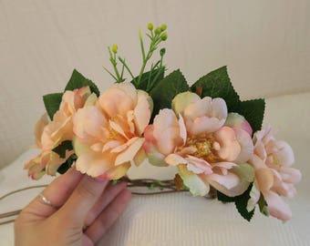 Blush flower crown, whimsical wreath,babies halo, woodland wreath, wedding halo, pink flower crown, flowergirl wreath, bridal wreath.