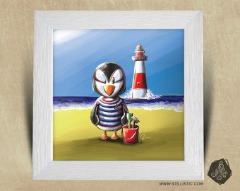 Frame square 25 x 25 birth gift with Illustration baby Puffin and Lighthouse nursery kids baby