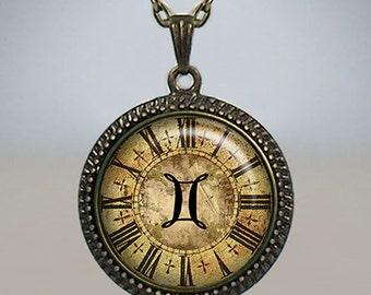Gemini Steampunk Zodiac necklace, Gemini pendant, Gemini necklace, birthday gift, astrology pendant, zodiac clock necklace