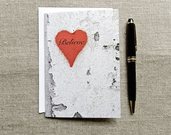 Believe Valentines Day Card, Romantic Notecard, Red Heart Valentine Card, Urban Love Note, Graffiti Heart, Greeting Card, Photo Note Card