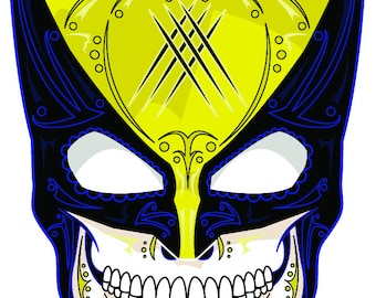 Wolverine Yellow Mask Sugar Skull 3x4 Vinyl Sticker