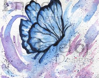 Blue Butterfly Original Watercolor Fine Art Print