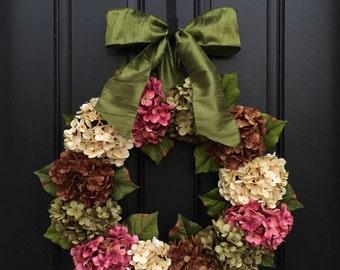 Wreaths, Wreath, Summer Wreaths, Summer Hydrangea Wreath, New Design 2015 Twoinspireyou, Decorative Wreaths, Designer Wreaths, Door Wreaths