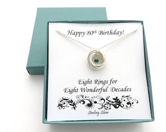80th Birthday Gift, Sterling Silver Birthstone Necklace, 80th Birthday, 8th Anniversary, Birthday Gift Ideas for Women, Birthday Jewelry,MHD