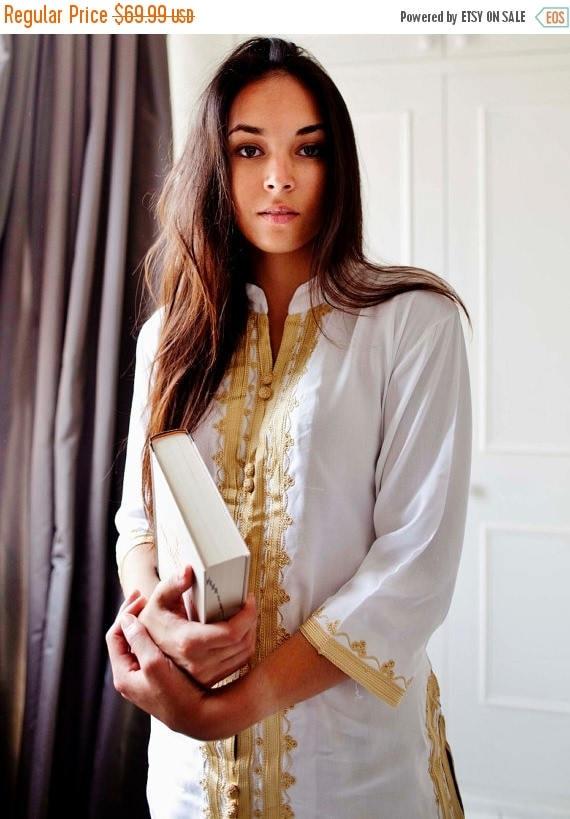 KAFTAN 20% SALE/ White & Gold Embroidery Tunic, perfect for birthday gifts, honeymoon gifts, bridesmaid, bride, resort wear, beach, bohemian