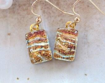 Gold Earrings, Petite, Dichroic Glass Earrings, Dangle, Gold Filled, A6