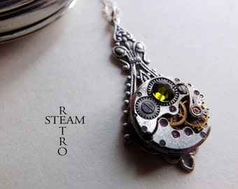 Steampunk Victorian green Pendant Necklace - Steampunk Jewelry by Steamretro - Christmas gift - steampunk - steampunk necklace - gothic