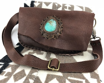 Brown Elk Leather Fanny Pack/ Bum Bag with Turquoise Cabochon