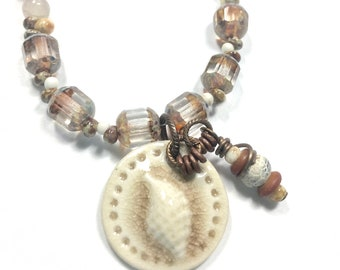 Artisan Crafted Beach Necklace, Champagne Glass Beaded Necklace