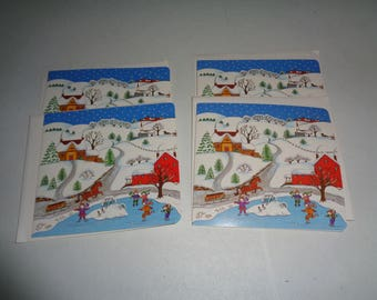 "4 Vintage Christmas Cards w/Envelopes Cards Hold 8 Pictures Photos 3.5"" x 5"" Holson Company"