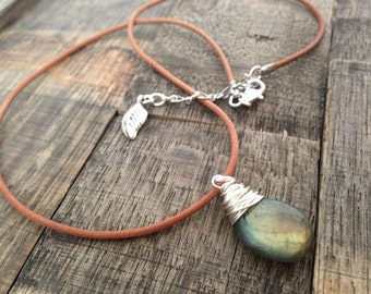 Sterling wire wrapped labradorite on a leather cord necklace