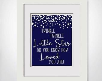 Twinkle Twinkle Little Star Do You Know How Loved You Are|Navy Nursery Decor|DIY Nursery Decor For Boy|Nautical Nursery Printable For Him