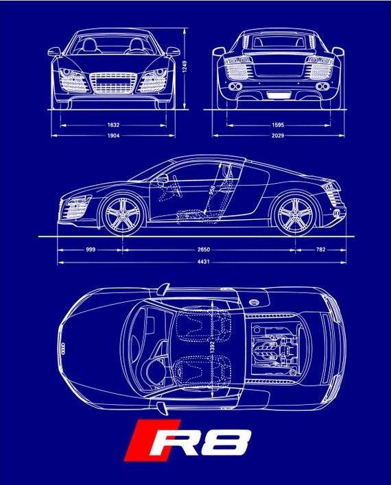 Audi r8 blueprint poster malvernweather Image collections