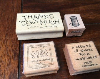 Thank you rubber stamps - set of 4 - used