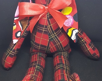 Red, Gold and Black Tartan 100% Cotton Fabric Bunny