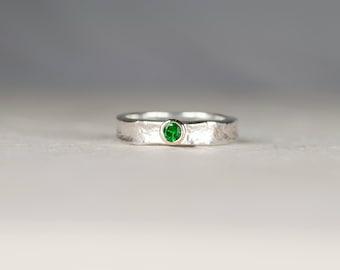 Tsavorite Garnet Ring   Green Stone Ring   Engagement Ring   Tsavorite Ring   Rustic Silver and Gold Ring   Green Garnet Ring   Heidi