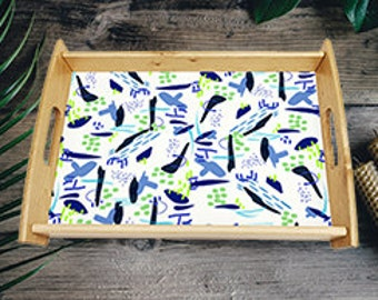 tea tray, serving tray, breakfast tray, dinner tray, tray with handles, wooden tray, abstract, coffee tray, blue, green, kitchen tray, wipe
