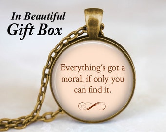 Alice In Wonderland Quotes Jewelry • Alice in Wonderland Necklace • Fairy Tale Necklace