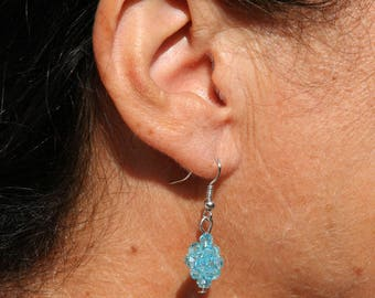 Turquoise hoop earrings with Crystal beads