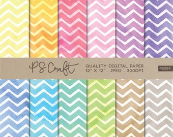 Chevron Watercolor Digital Papers, Watercolor Zigzag Background, Zigzags Wallpaper,  Rainbow Zigzag Pattern