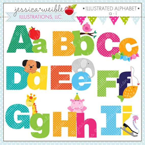 Illustrated alphabet a i cute digital clipart for commercial thecheapjerseys Gallery