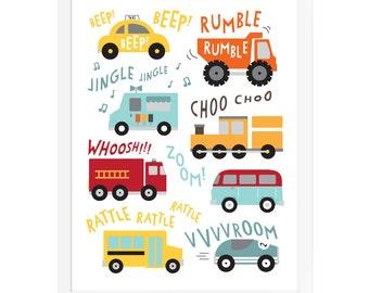 Vehicle art print, trucks, trains, cars wall art, transportation wall art, nursery vehicles art print, construction poster, baby boy art