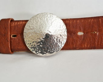 "Hammered Sterling Silver Belt Buckle - ""Full Moon"""
