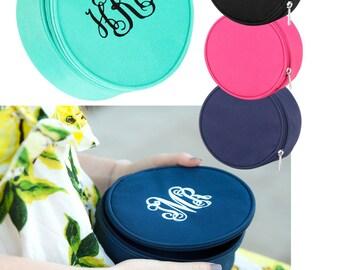 Personalized Jewelery Case, Round Zippered Case,  Bracelet Holder