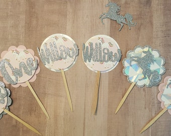 Unicorn Cupcake Toppers Set of 12