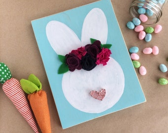 Spring Bunny with Felt Flower Crown - Custom Colors - FREE SHIPPING