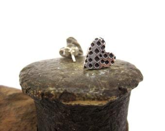 Geometric Heart Post Earrings - Tiny Sterling Silver Heart Stud Earrings with Geometric Design