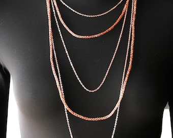 Multi strand necklace, layering necklace, wire crochet, chain necklace, bronze, rose gold, copper, handmade long necklace