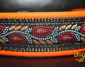 """Dog Collar """"Leaves"""" by dogs-art, leather dog collar, orange dog collar, floral dog collar, metallic dog collar, dog collar, leather collar"""