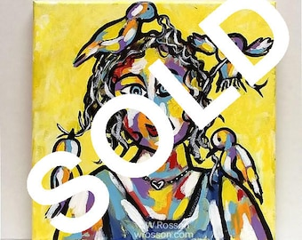 SOLD---------------------Whimsical Figure Painting, Bird Lady, Lady with Birds, Bird Painting, Bird Art,  Wall Art, Original Art, Winjimir,
