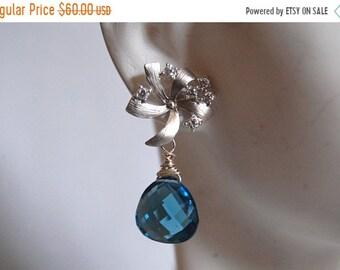 Mothersdaysale Beautiful London blue quartz and flower with cubic zirconia  earrings