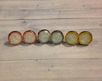 White Opal Stud Earrings, White Fire Opal Studs, Fire Opal Jewelry, Fire Opal Earrings, White Fire Opal Earrings, Fire Opal Clip On Earrings